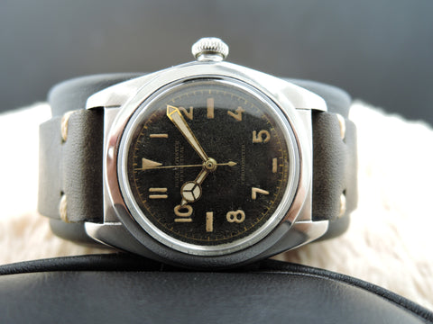 1944 Rolex BUBBLEBACK 2940 Stainless Steel with Black Arabic Dial