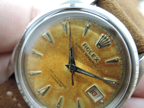 1954 Rolex DATEJUST 6305 2 Ovettone Tropical RED Datejust with Dauphine Hands