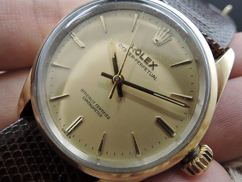 1958 Rolex OYSTER PERPETUAL 6634 14K Gold Capped Original Gold Dial with Papers