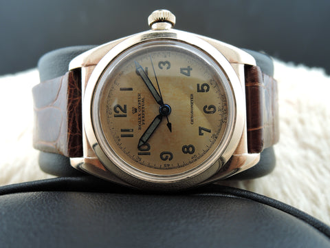 1945 Rolex BUBBLEBACK 3131 14K Pink Gold with Tropical Arabic Numerals