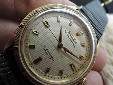 1957 Rolex OYSTER PERPETUAL 6569 18K YG with 2-Step Honeycomb Dial