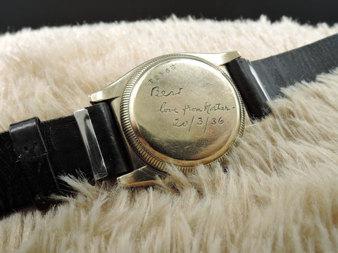 1932 Rolex BUBBLEBACK 1858 9K YG with Tropical 3-9-12 Dial with Sub-Seconds