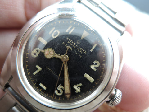 1944 Rolex BUBBLEBACK 2940 Stainless Steel with Black DOUBLE SIGNED Arabic Dial