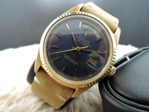 1969 Rolex DAY-DATE 1803 18K Gold with Original Blue Dial with 5 Min Track