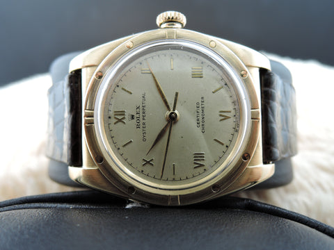 1947 Rolex BUBBLEBACK 3372 18k Yellow Gold with Raised Roman Numerals