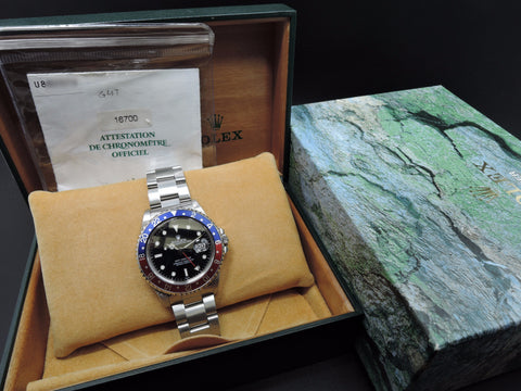 1999 Rolex GMT MASTER 16700 Pepsi Red/Blue Bezel with BOX and PAPER