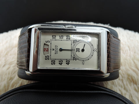 1930 Rolex PRINCE 1491 Railway Jump Hour with Brancard Steel Case