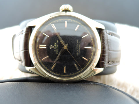 1952 Rolex SEMI BUBBLEBACK 6085 14K Yellow Gold with Gilt Dial