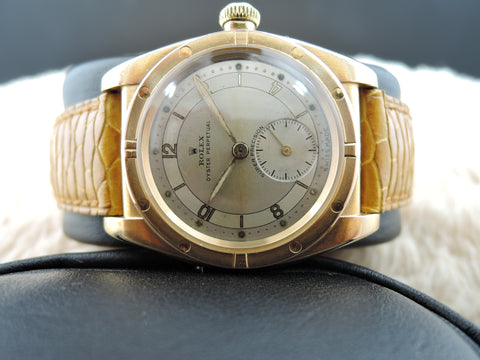 1945 Rolex BUBBLEBACK 3372 18k Yellow Gold with 2-4-8-10-12 Arabic Dial and Sub Seconds