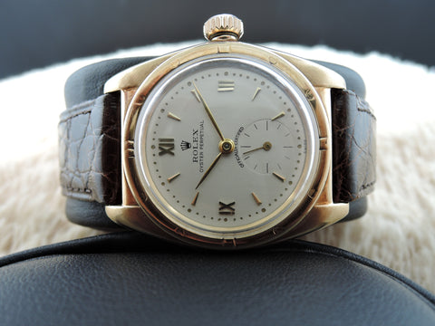 1940 Rolex BUBBLEBACK 3458 14K Yellow Gold with White Roman Dial and Sub-Seconds