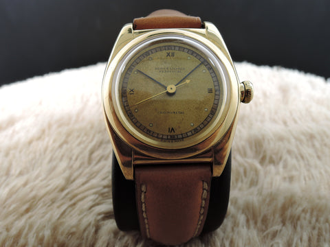 1938 Rolex BUBBLEBACK 3131 18K YG with Tropical 3 6 9 12 Roman Dial