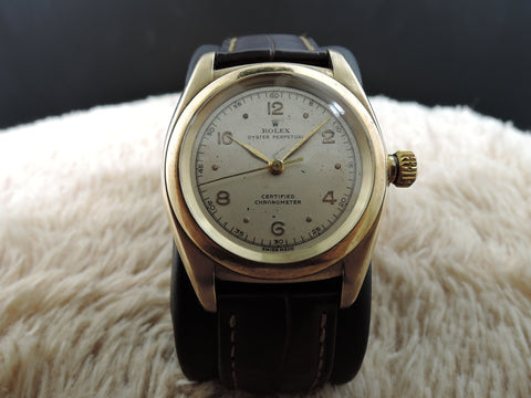 1947 Rolex BUBBLEBACK 3131 14K Yellow Gold with Raised Arabic Dial