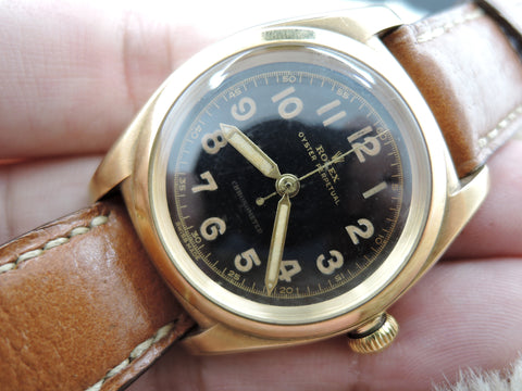 1940 Rolex BUBBLEBACK 3131 14K Yellow Gold with Gilt Arabic Dial