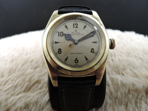 1947 Rolex BUBBLEBACK 3131 14K Yellow Gold with Arabic Dial and Benz Hands