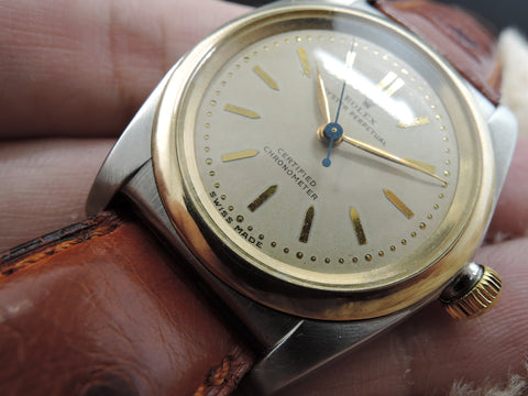 1946 Rolex BUBBLEBACK 3133 with Original Creamy Dial and Arrowhead Markers