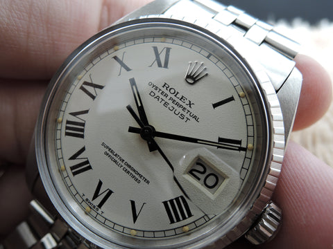1970 Rolex DATEJUST 1603 SS ORIGINAL White Creamy Buckley Dial with Paper