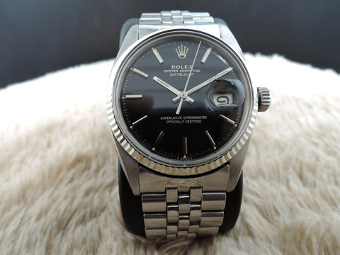 1967 Rolex DATEJUST 1601 SS Original Glossy Gilt Black Dial with Double Papers