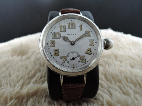1914 Rolex OFFICER with Original Enamel White Dial with Arabic Numerals (BIG SIZE)