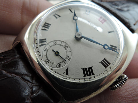 1927 Rolex Sterling Silver Tonneau Case with Engine Turned Guilloche Dial