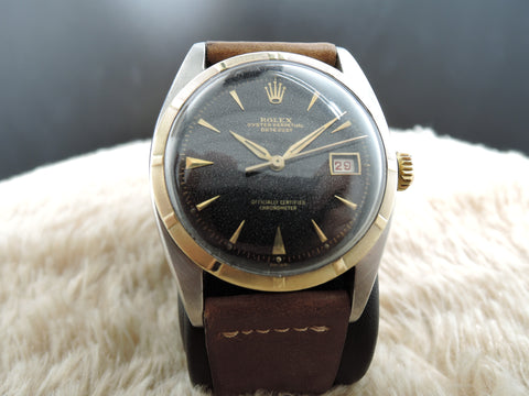 1951 Rolex OYSTER PERPETUAL 6075 2-Tone Gilt Dial BIG Bubbleback (36mm)