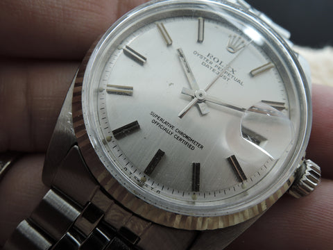 1972 Rolex DATEJUST 1601 SS ORIGINAL Silver Sigma Dial with Special Pattern