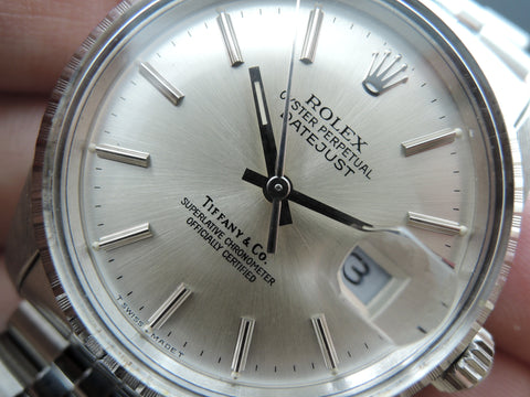 1987 Rolex DATEJUST 16030 Stainless Steel Original TIFFANY Silver Dial