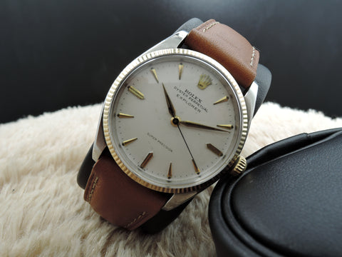 1958 Rolex AIR KING EXPLORER 5501 with White Dial and Gold Fluted Bezel