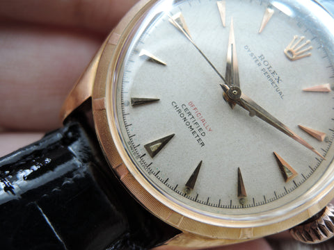 "1952 Rolex SEMI BUBBLEBACK 6085 18K ROSE Gold with Red ""OFFICIALLY"""