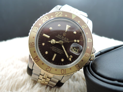 1974 Rolex GMT MASTER 2-Tone 1675 Brownish/Red Nipple Dial
