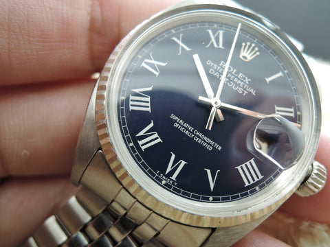 1967 Rolex DATEJUST 1601 SS Blue Roman Dial with Jubilee Band