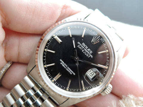 1982 Rolex DATEJUST 16014 Stainless Steel Original Black Dial with Box & Paper