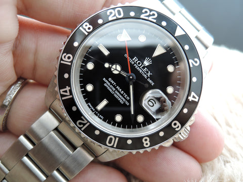 1997 Rolex GMT MASTER 16700 Black Bezel with BOX and PAPER