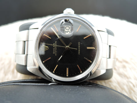 1972 Rolex OYSTER DATE 6694 Original Matt Black Dial with Gold Print and Markers