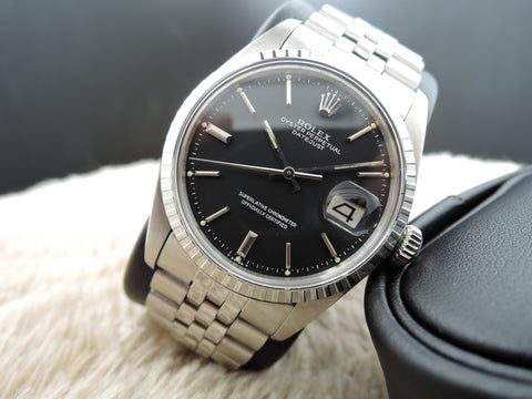1972 Rolex DATEJUST 1603 SS with Original Matt Black Dial and Folded Jubilee Band