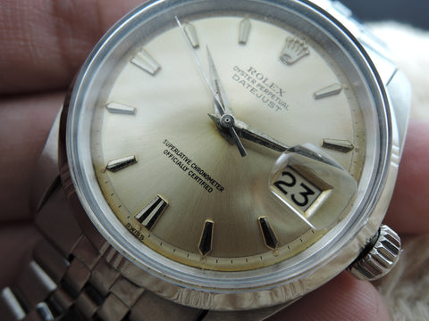 "1960 Rolex DATEJUST 1603 SS with Yellowish ""SWISS"" Dial and Special Bezel"