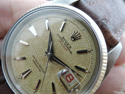 "1955 Rolex DATEJUST 6305 1 Ovettone Bubbleback with WAFFLE ""RED"" Datejust Dial"