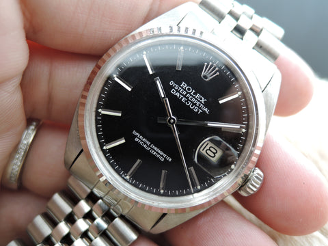 1972 Rolex DATEJUST 1601 Stainless Steel Matt Black Dial with SOLID Jubilee