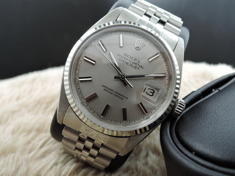 1972 Rolex DATEJUST 1601 Stainless Steel Light Grey Dial with SOLID Jubilee