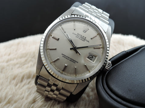1966 Rolex DATEJUST 1601 Stainless Steel Original Silver Sigma Dial with SOLID Jubilee