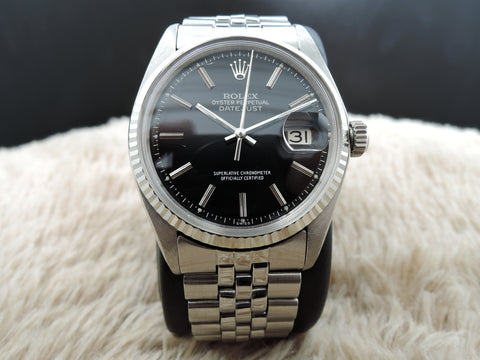 1972 Rolex DATEJUST 1601 SS Glossy Black Dial with Jubilee Band