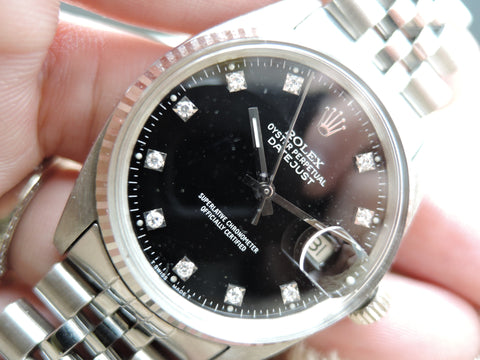 1981 Rolex DATEJUST 16014 Stainless Steel Black Diamond Dial