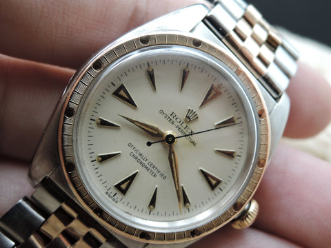 1949 Rolex BUBBLEBACK 5045 with Original Cream Dial and 2-Tone Jubilee Bracelet