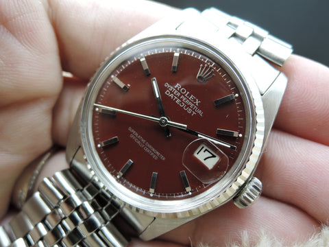 "1969 Rolex DATEJUST 1601 SS with Glossy ""Stella"" Oxblood Dial"