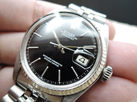 1972 Rolex DATEJUST 1601 Stainless Steel Matt Black Dial with Folded Jubilee