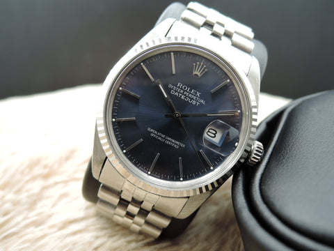 1979 Rolex DATEJUST 16014 Stainless Steel Blue Dial with Solid Jubilee