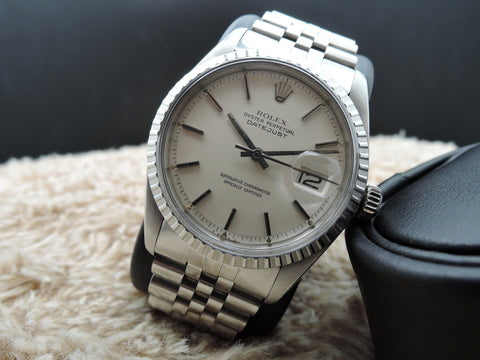 1974 Rolex DATEJUST 1603 SS ORIGINAL Matt Silver Dial with Solid Jubilee