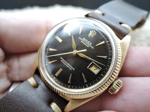 1957 Rolex DATEJUST 6605 18K Yellow Gold with Gilt Dial