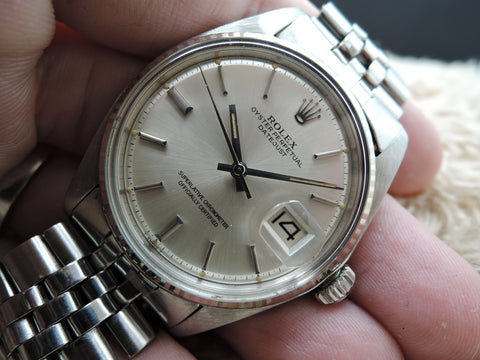 1972 Rolex DATEJUST 1601 Stainless Steel Original SIlver Dial with Orange Patina