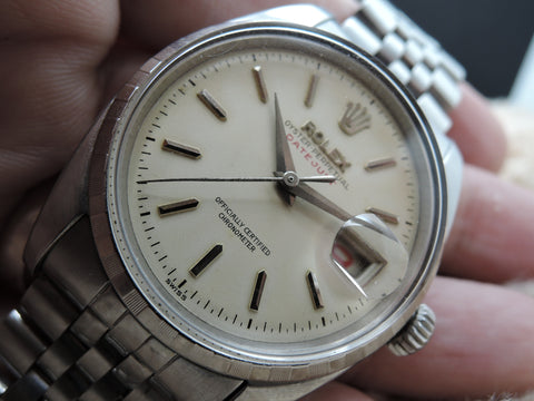 "1954 Rolex DATEJUST 6305 2 Ovettone Bubbleback with Creamy ""RED"" Datejust Dial, FULL SET"