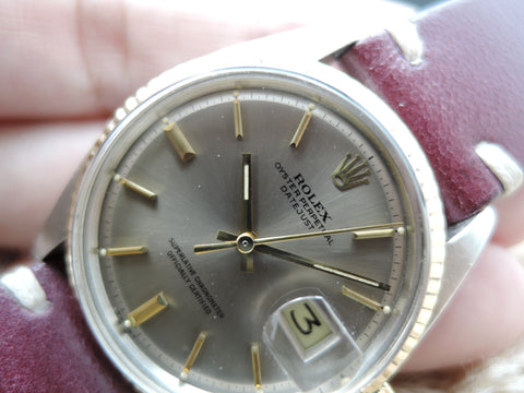 1967 Rolex DATEJUST 1601 2-Tone SS/18k Gold ORIGINAL GREY Dial